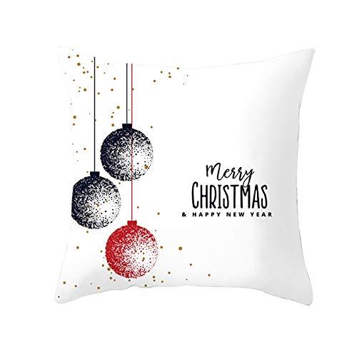 Beydodo 1 Pieza de Fundas de Cojines Fundas Cojines 45X45 Baratas Bolas de Decoración de Navidad Merry Christmas & Happy New Year Blanco Negro Rojo