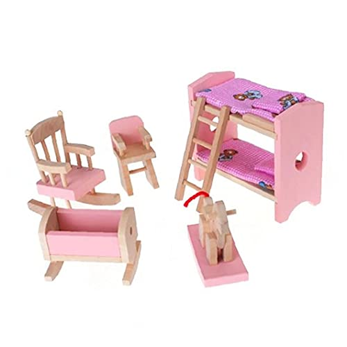 Miniature Wooden Furniture Set Include Bunk Bed Chair Cradle Kid Children Gift Doll House Mini Furniture Toy Girl's Gift