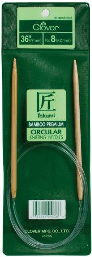 CLOVER Takumi Bamboo Circular 36-Inch Knitting Needles, Size 8