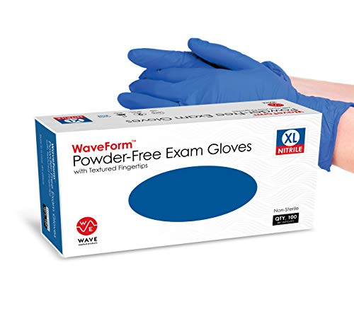 Waveform Nitrile Gloves with Textured Fingertips – Latex Free and Powder Free 4 mil Disposable...