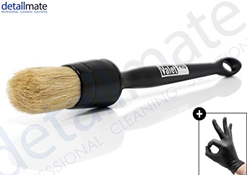 detailmate ValetPRO Large Sash Brush No. 16 Black - großer Reinigungspinsel weich, BRU 19 + Nitril Schutzhandschuh
