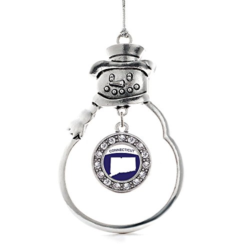 Inspired Silver - Connecticut Outline Charm Ornament - Silver Circle Charm Snowman Ornament with Cubic Zirconia Jewelry