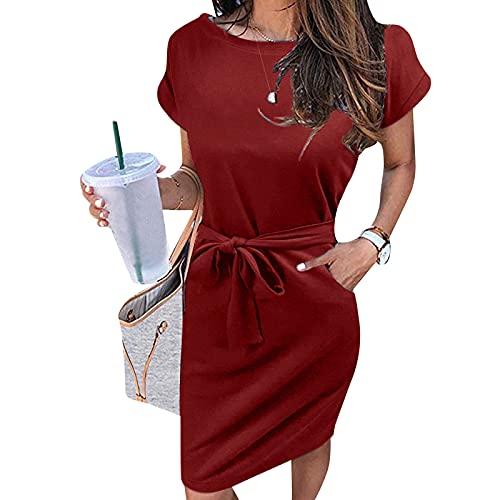 YHIIen Sommerkleid Damen Knielang,Damen Sommer gestreifte Kurzarm T-Shirt Kleid Lässige Krawatte Taille mit Taschen Midi Kleid
