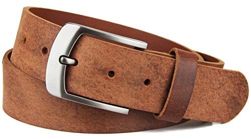 Frentree Ledergürtel aus echtem Büffelleder, MADE IN GERMANY, Gürtel für Damen und Herren, 3,8 cm breit, Braun