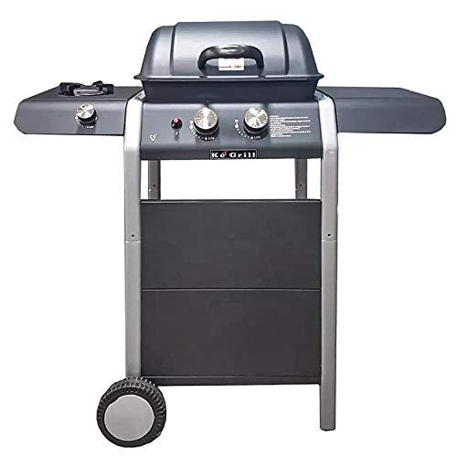 Mediawave Store - Barbecue KeGrill KE601 Burner Pietra lavica, con 2 fuochi e fornello, BBQ da Giardino, Ideale per terrazza, PIC-nic- griglia per arrosto, fornello a Gas 110X100X50 cm