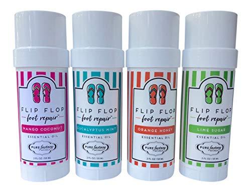 Foot Balm Moisturizer For Rough Heels & Dry, Cracked Feet Flip Flop Foot Repair Bundle 4 Pack Mango Coconut, Lime Sugar, Orange Honey, Eucalyptus Mint