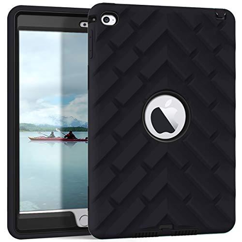iPad Mini 4 Case, iPad A1538/A1550 Case, Hocase Rugged Shockproof Anti-Slip Hybrid Hard Shell+Silicone Rubber Bumper Protective Case for Apple iPad Mini 4th Generation 2015 - Black