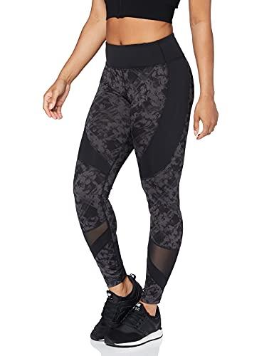 Amazon Marke - AURIQUE Damen-Sportleggings, Grau (Black/Grey Print Black/Grey Print), 38, Label:M