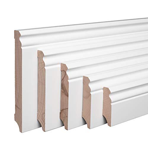 Echtholz-Sockelleisten Weiß lackiert Buche Massiv Berliner Profil [SPARPAKET] (60mm Höhe, 5 Stück / 11,5lfm)