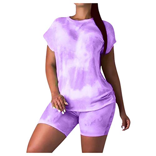 Amazing Deal Toimothcn Women's 2 Piece Tracksuit Tie Dye Printed Short Sleeve T-Shirt Shorts Set Out...