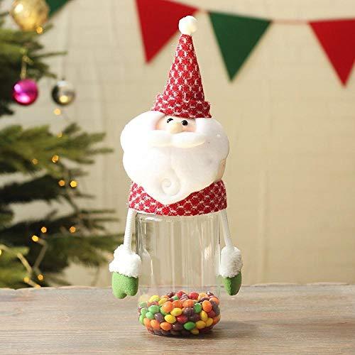 TOORY mural Decoraciones navideñas Bolsas de Regalo para niños Bolsas de Dulces Cajas de Manzanas latas de plástico Creativas portátiles Nochebuena-Botella Larga Anciano (30cm de Alto)