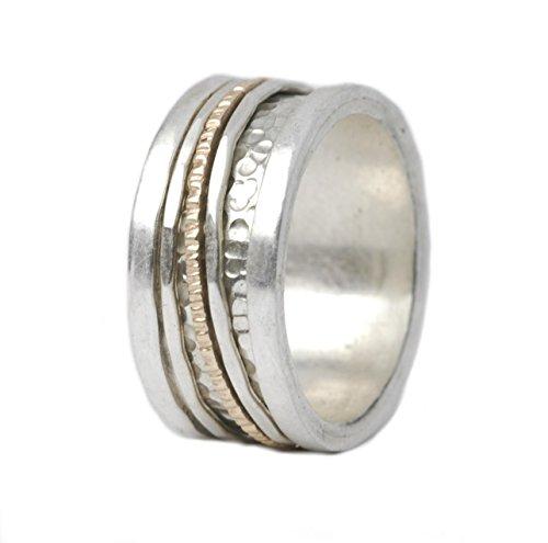 Tiljon Designer Ring Silber-Gold mit drei drehbaren Ringschienen Ringgröße 58 (18.5)