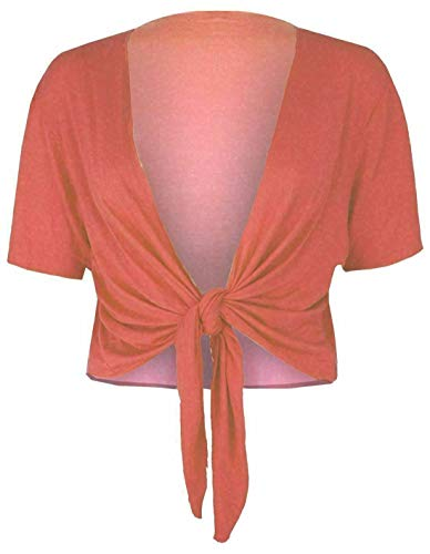 Fashion Essentials Damski krótki rękaw prosty krawat damski rozciągliwy dopasowany kardigan top typu bolerko duży rozmiar