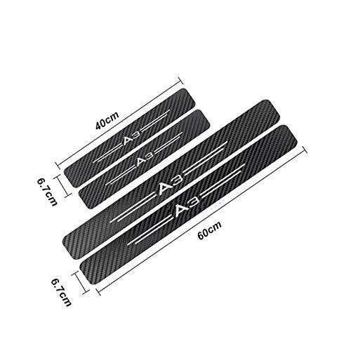 JiuRui DIY Verpackung 4pcs Autoaufkleber Carbon-Faser-Auto-Tür-Sills-Schutz for Audi A3 P8 B5 B6 B7 B8 B9 C5 C6 C7 A4 A5 A6 A7 A8 TT Q3 Q5 Q7 Q8 8P 4F (Color Name : A3)