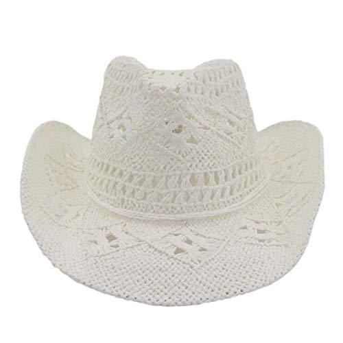 Sombreros De Paja Gorra De Mujer Sombreros De Mujer Sombreros De Paja Huecos Banda Sólida Cuerda Bowknot Playa Al Aire Libre Casual Elegante Protección Solar Sombreros para El Sol-White_56-5