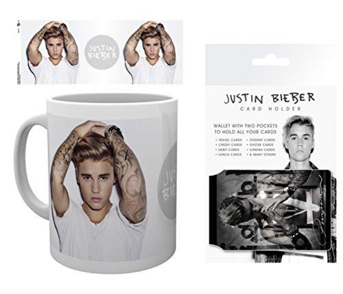 1art1 Justin Bieber, Purpose, Tattoo Taza Foto (9x8 cm) Y 1 Justin Bieber, Tarjeteros para Tarjetas De Crédito (10x7 cm)