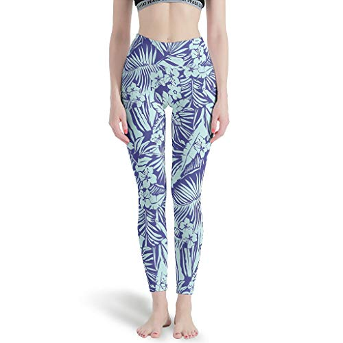 Zerosubsidi Tropical Palm Girls Cute Leggings Soft Yoga Pants Fun for Pilates Gym White 4XL