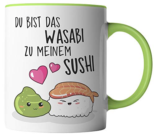 vanVerden Tasse - Du bist das Wasabi zu meinem Sushi - beidseitig Bedruckt - Geschenk Idee Valentinstag Kaffeetassen mit Spruch, Tassenfarbe:Weiß/Grün