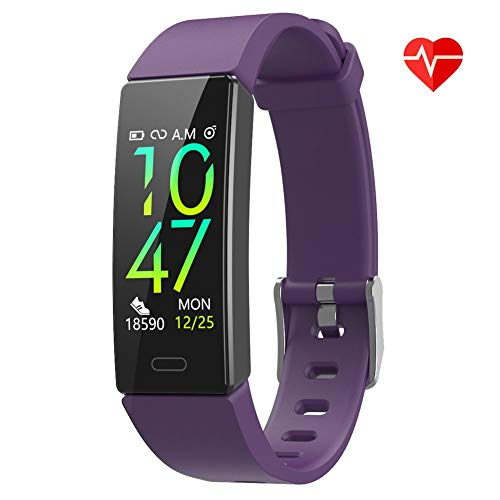 ZURURU FitWatch XP, IP68 Waterproof Activity Tracker with Heart Rate Sleep Monitor, Fit Smart Watch with Pedometer Calorie Step Counter for Women Men (Violet)