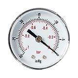 DOITOOL 1/8 NPT Manomètre de pression d'eau d'air manomètre de pression de haute Manomètre pour eau (-1-0bar - 30-0inhg)