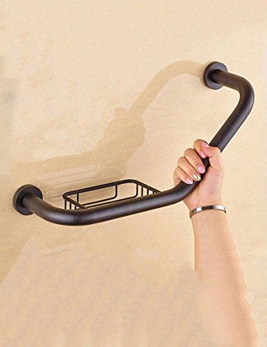 Haizhen Accoudoir pour rampe complète en cuivre Noir antidérapant Rampe Toilettes accessibles aux personnes âgées Rampe de sécurité avec du savon Net Rampe de sécurité pour salle de bain