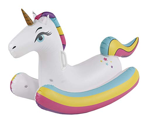 Splash Buddies Kid's Inflatable Rocking Ride-On Unicorn Water Toy Float, Pool and Beach Party Blow Up Floatie
