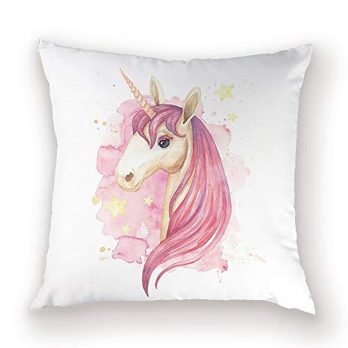 Funda de cojín de unicornio de dibujos animados Funda de almohada de animal lindo Decoración para el hogar Cojines decorativos de caballo para sofá Fundas de poliéster Cojines UN077 45 * 45 cm