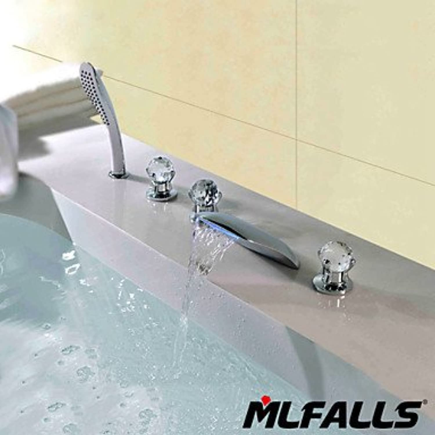 SQL New five-hole Crystal handle temperature LED the Falls waterfall chrome bathroom faucet