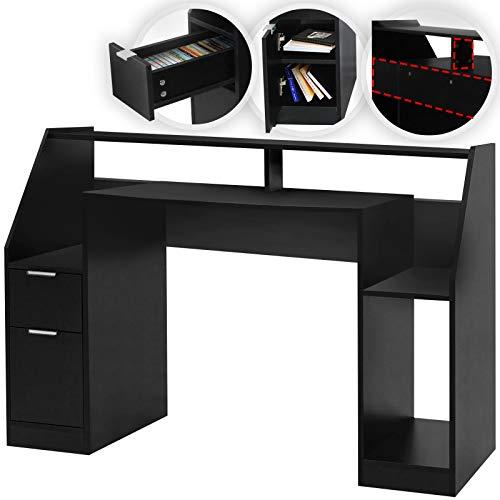 MIADOMODO® Schreibtisch - mit Schublade und Ablagen, 123 x 55 x 90 cm, Schwarz, E 1 Spanplatte - Computertisch, PC-Tisch, Gamingtisch, Officetisch