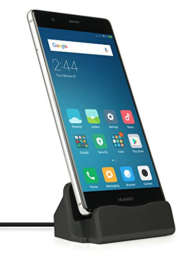 MyGadget Dockingstation Ladestation [USB C] für Android Smartphones - Halterung Dock für z.B. Samsung Galaxy S10 S9 S8, Note 9 8, Huawei P20 Pro - Schwarz