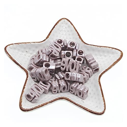 50 unids Acrílico Amor Símbolo Letra Beads Big Hole Hecho A Mano Accesorios de Joyería, Hacer Joyas, Hacer Mujer, Regalo (Color : Coffee)