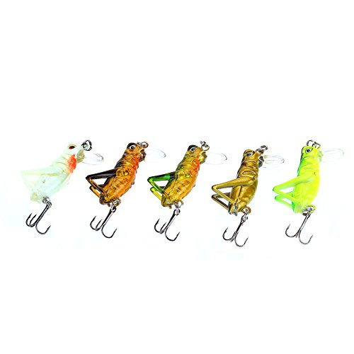 Bnineteenteam 5Pcs Grasshopper Fishing Lure,Artificial Fishing Lure Baits with Carry Box for Fishing Accessory