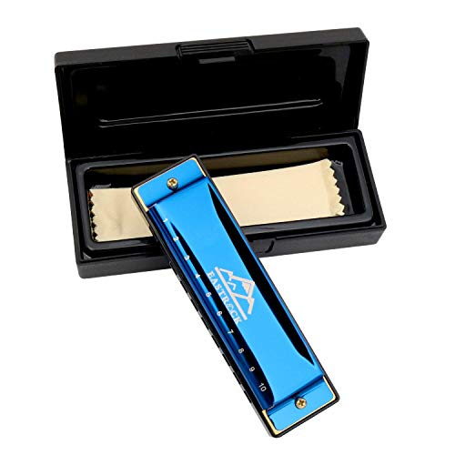 EastRock Blues Harmonica Mouth Organ 10 Hole C Key with Case,Diatonic Harmonica for Professional Player, Beginner, Students gifts, Adult, Friends, Gift Blue