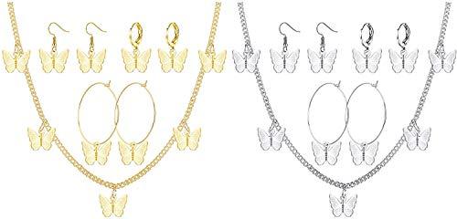Adramata 8Sets Schmetterling Halskette Ohrringe Set Schmetterling Creole Baumel Ohrringe Huggie Tropfen Ohrringe Böhmische Schmetterling Choker Kette Halskette Verstellbare Frauen Schmuck Geschenk