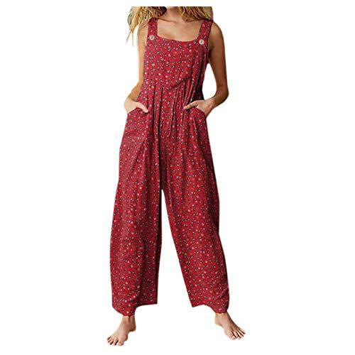 Padaleks Women s Summer Vintage Floral Print Jumpsuits Sleeveless Overalls Romper Boho Baggy Long Pants w Pocket