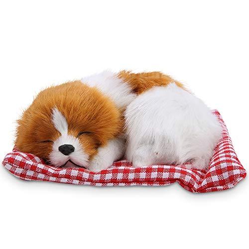 Zerodis Plüsch Hundespielzeug Kinder Schöne Stofftiere Simulation Tier Puppe Plüsch Schlafende Hunde Mit Ton für Kinder(Gelb-Weiß)