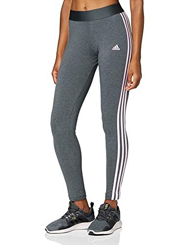 adidas 3-Stripes, Leggings Donna, Scuro Grigio Melange/Colore Rosa Chiaro, L