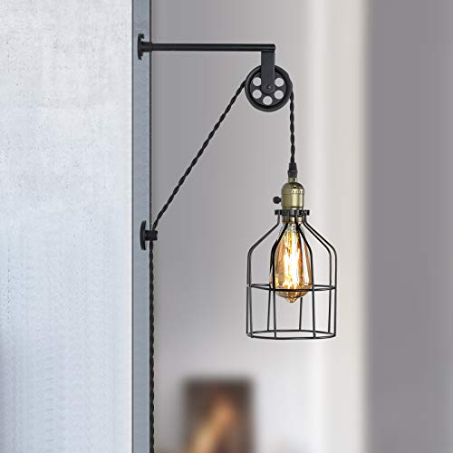 Industrial Wall Lamp Pole Wall Mount Lighting Fixture E27 Wall Lamp with Switch for Hallway Bedroom Kitchen Living Room Decoration 220V Black EECOO Vintage Light Holder Bathroom Wall Sconce