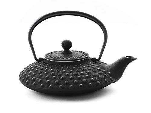Iwachu Teekanne Gusseisen. Japanische Kyusu Hira Arare, Original, Schwarz 500ml, 0,5 Liter Sieb-Einsatz Edelstahl. Innen Emailliert