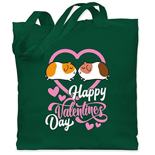 Shirtracer Valentinstag - Happy Valentines day - Meerschweinchen - Unisize - Dunkelgrün - Fun - WM101 - Stoffbeutel aus Baumwolle Jutebeutel lange Henkel