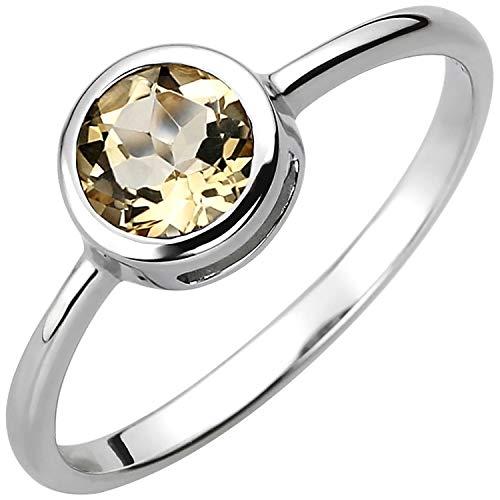 JOBO Damen-Ring aus 925 Silber mit Citrin Größe 50