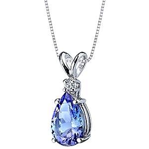 14k White Gold Tanzanite Diamond Tear Drop Pendant Necklace