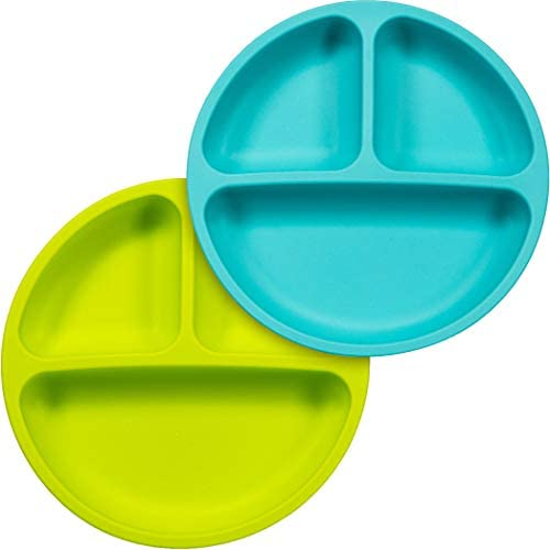 Sperric Silicone Divided Plates Unbreakable Non Slip Silicone Baby and Toddler Plates 2 Pack product image