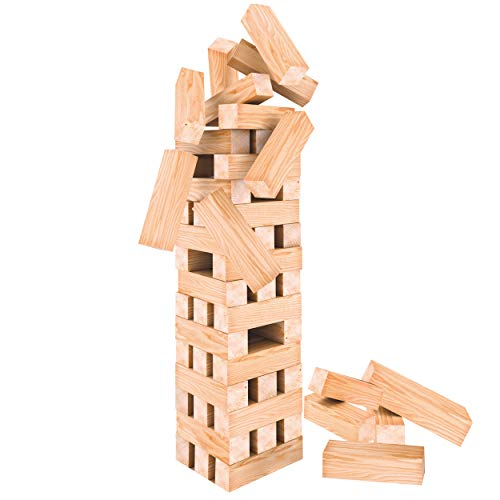 Oramics XXL Turmspiel Stapelspiel – 60 teiliges Holzspielzeug – Wackelturm Geschicklichkeitsspiel 50cm hoch und 12 cm breit, Gesellschaftsspiel für Kinder und Erwachsene