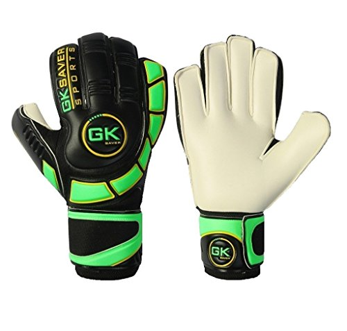 Keepers Fußball Torwart Handschuhe Finger Save Fußball Torwart Flat Cut Cool Grün Handschuhe, NO Finger Protection YES personalization