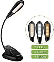 LENCENT 9 LED Book Light, 3 Colors and 9 Brightness Modes (Warm & White LEDs) USB Rechargeable Clip Reading Light for Kids...