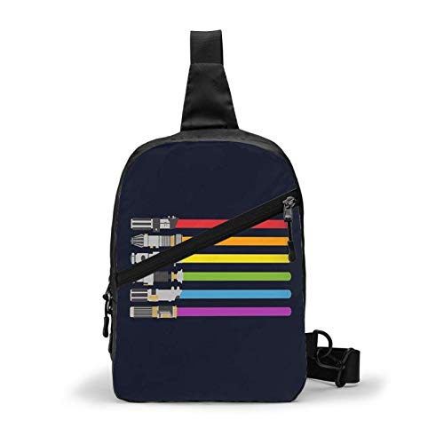 Hdadwy Sling Backpack Crossbody Chest Bag Lightsaber Rainbow Shoulder Bag for Men Women Outdoor Travel