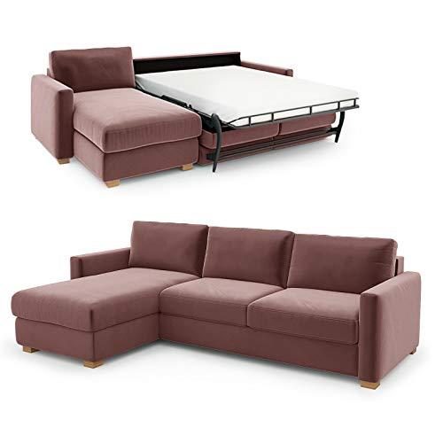 place to be. Sofá cama Weekend 140 cm con tumbona larga izquierda, color marrón claro