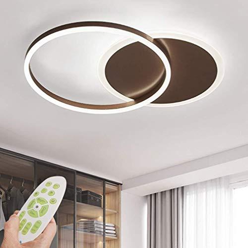 LED Deckenleuchte Moderne Dimmbare Wohnzimmerlampe Ring Designer Deckenlampe mit Fernbedienung Innenbeleuchtung Metall Acryl Schlafzimmer Küche Esszimmer Lichter 3000K-6500K (Braun, 2-Ring)