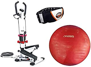 Stepper 4 in 1, white, QN-B307-1,With Yoga ball World Fitness red 75 cm,With Vibro Shape Slimming Massage Belt